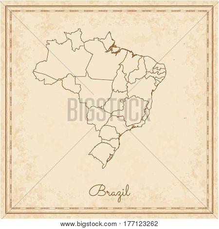 Brazil Region Map: Stilyzed Old Pirate Parchment Imitation. Detailed Map Of Brazil Regions. Vector I