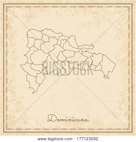 Dominicana Region Map: Stilyzed Old Pirate Parchment Imitation. Detailed Map Of Dominicana Regions.