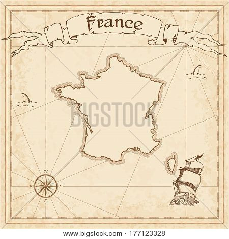 France Old Treasure Map. Sepia Engraved Template Of Pirate Map. Stylized Pirate Map On Vintage Paper