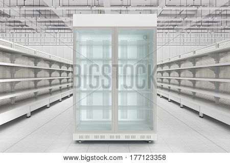Store Interior With Empty Refrigerator Display.