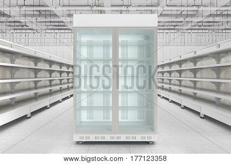 Store Interior With Empty Refrigerator Display.