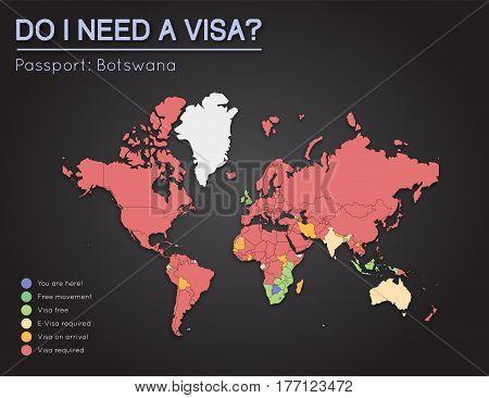 Visas Information For Republic Of Botswana Passport Holders. Year 2017. World Map Infographics Showi