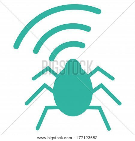 Radio Bug vector icon. Flat cyan symbol. Pictogram is isolated on a white background. Designed for web and software interfaces.
