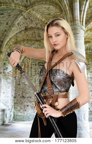 female warrior with stone arch in background