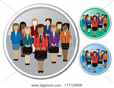 group of business women with business clothes multi ethnic with suitcases