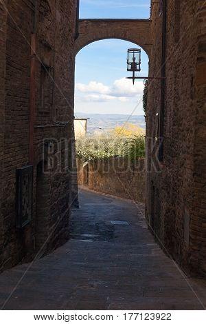 Narrow street detail from San Gimignano Italy