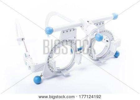 Trial frame used in prescription of eyeglasses