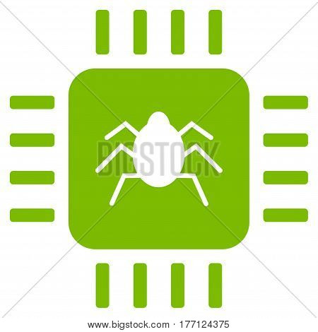 Hardware Bug vector icon. Flat eco green symbol. Pictogram is isolated on a white background. Designed for web and software interfaces.