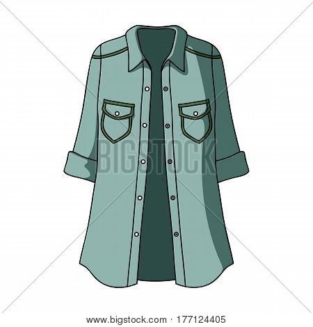 Green Women's jacket with buttons and short sleeves. Casual wear for the stylish woman.Women clothing single icon in cartoon style vector symbol stock web illustration.