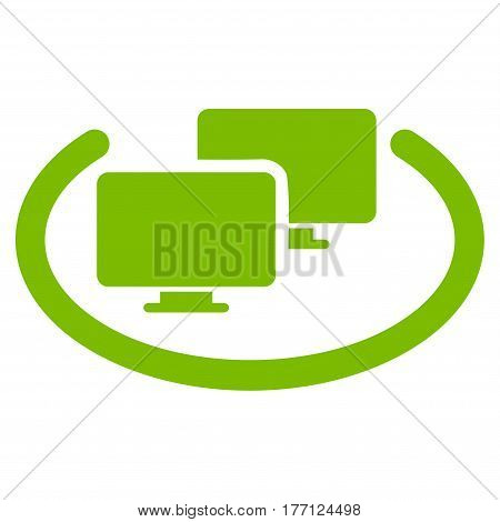 Intranet Computers vector icon. Flat eco green symbol. Pictogram is isolated on a white background. Designed for web and software interfaces.