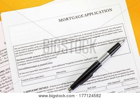 Close - up Mortgage application paper form