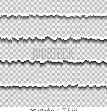 Vector realistic ripped paper effect on the transparent background.