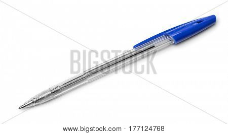 Top view of plastic ballpoint pen isolated on white