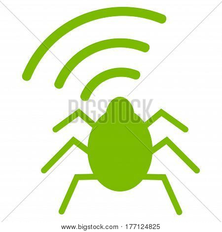 Radio Bug vector icon. Flat eco green symbol. Pictogram is isolated on a white background. Designed for web and software interfaces.