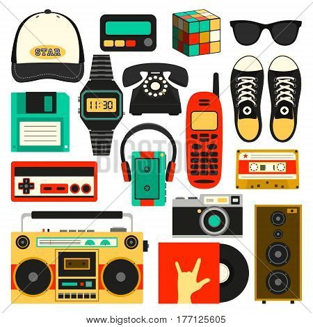 Vector old style equipments, accessories and things icons set. Old school collection in flat style. Design templates, PS10 illustration.