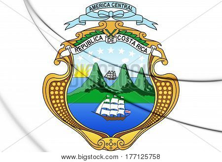 Costa Rica Coat Of Arms. 3D Illustration.