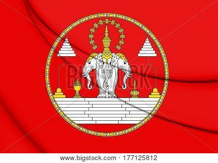 Royal Standard Of Laos (1949-1975). 3D Illustration.