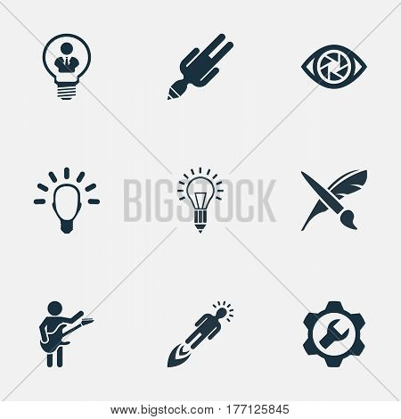 Vector Illustration Set Of Simple Creative Thinking Icons. Elements Contemplation, Intellect, Mentality And Other Synonyms Person, Lightbulb And Brush.