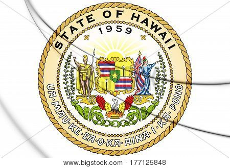 State Seal Of Hawaii, Usa. 3D Illustration.