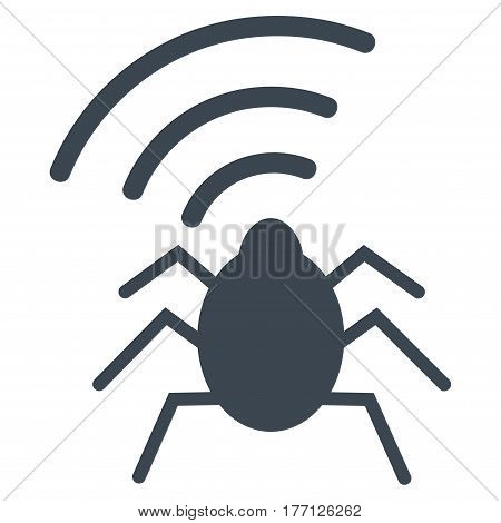 Radio Bug vector icon. Flat smooth blue symbol. Pictogram is isolated on a white background. Designed for web and software interfaces.