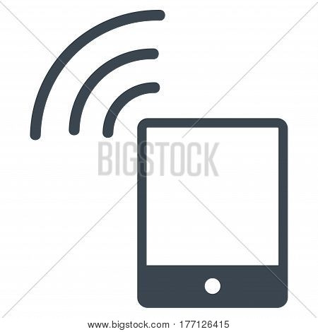 Smartphone Wi-Fi Signal vector icon. Flat smooth blue symbol. Pictogram is isolated on a white background. Designed for web and software interfaces.