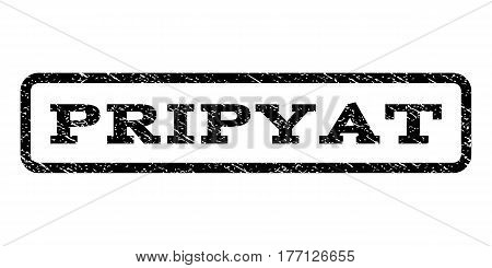 Pripyat watermark stamp. Text tag inside rounded rectangle with grunge design style. Rubber seal stamp with scratched texture. Vector black ink imprint on a white background.