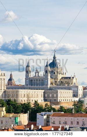 Western part of Santa Maria la Real de La Almudena cathedral in Madrid Spain