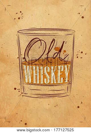 Poster glass of whiskey lettering old whiskey drawing on craft background