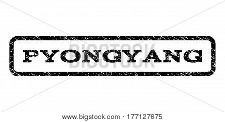 Pyongyang watermark stamp. Text caption inside rounded rectangle frame with grunge design style. Rubber seal stamp with dust texture. Vector black ink imprint on a white background.