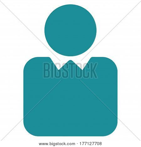 Person vector icon. Flat soft blue symbol. Pictogram is isolated on a white background. Designed for web and software interfaces.