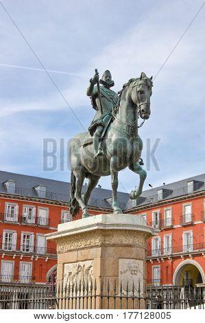 Statue of Philip III on Plaza Mayor in Madrid Spain
