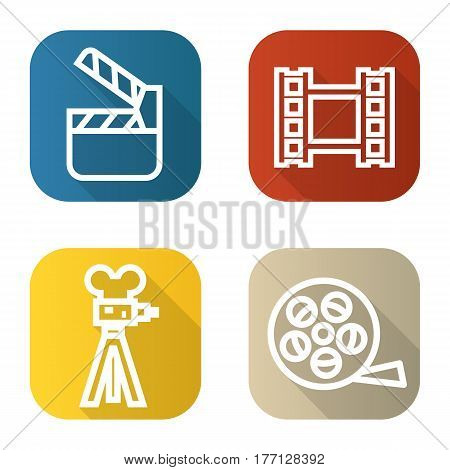Filming flat linear long shadow icons set. Film camera, video, reel, movie clapperboard. Vector line illustration
