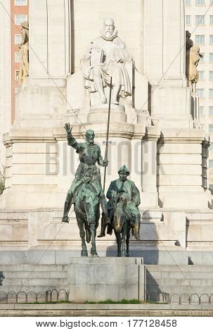 Monument to Miguel de Cervantes Saavedra and bronze sculptures of Don Quixote and Sancho Panza in Madrid Spain
