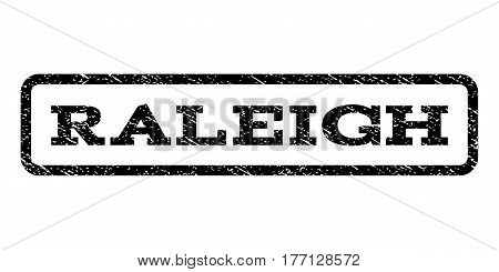 Raleigh watermark stamp. Text tag inside rounded rectangle frame with grunge design style. Rubber seal stamp with scratched texture. Vector black ink imprint on a white background.