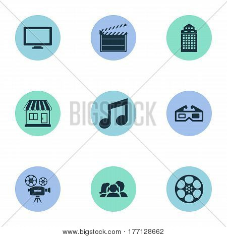 Vector Illustration Set Of Simple Film Icons. Elements Grocery, Screen, 3D Glasses And Other Synonyms Display, Reel And Layout.
