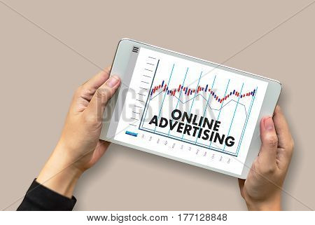 Online Advertising Man Working On Laptop , Website Marketing , Update Trends  Advertising , Online B