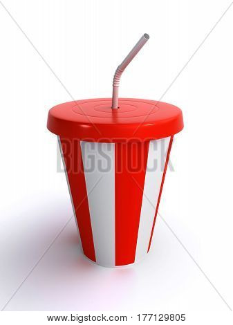 cup of milkshake over the white background (3d rendering)