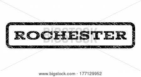 Rochester watermark stamp. Text caption inside rounded rectangle with grunge design style. Rubber seal stamp with unclean texture. Vector black ink imprint on a white background.