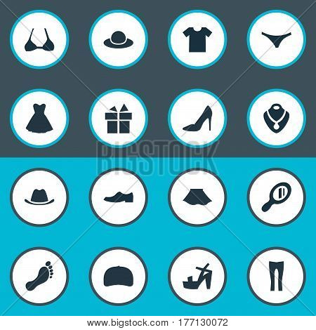 Vector Illustration Set Of Simple Clothes Icons. Elements Elegant Headgear, Brasserie, Footwear And Other Synonyms Stand, Pants And Foot.