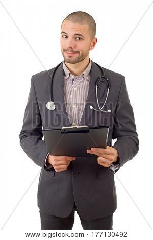 happy male doctor, isolated on white background