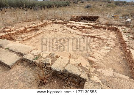Excavated floor of the Roman Villa with the peristyle courtyard at Aptera, near Chania, in Crete, Greece