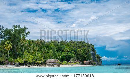 Paradise in Water Hut of Homestay on Kri Island. Raja Ampat, Indonesia, West Papua.