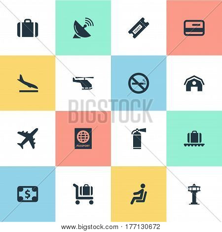 Vector Illustration Set Of Simple Travel Icons. Elements Credit Card, Baggage Cart, Flight Control Tower And Other Synonyms Helicopter, Plastic And Protection.