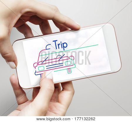 Illustration of automotive car rental transportation on mobile phone