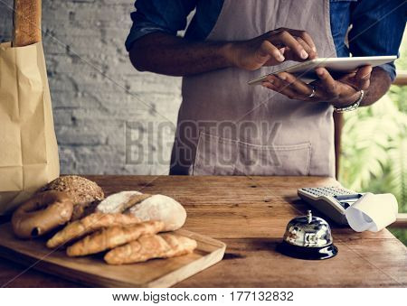 Men Checking Stock of Pastry in Bakery Shop