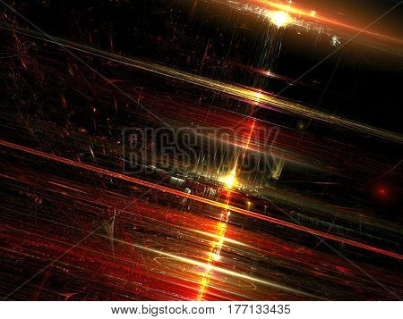 Blurred glossy technology background - abstract computer-generated image. Modern fractal art: Inclined surface with chaos strokes, stripes and light effects. For texture mapping, backdrops, web design