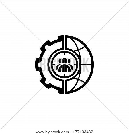Global Targeting Icon. Flat Design. Business Concept. Isolated Illustration