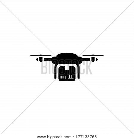 Drone Delivery Icon. Flat Design. Business Concept. Isolated Illustration