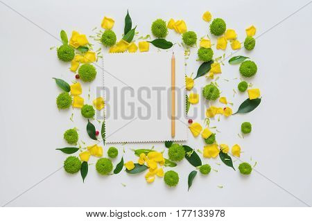 Sheet of paper and pencil with pattern from petals of chrysanthemum flowers, ficus leaves and ripe rowan on white background. Overhead view. Flat lay.