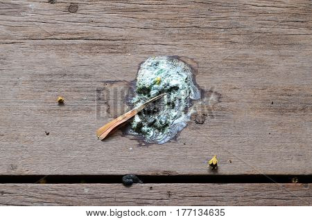 Bird excrement or droppings on brown wooden floor